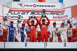 GT500 podium: race winner #38 Zent Cerumo Lexus LC500: Yuji Tachikawa, Hiroaki Ishiura, second place #6 Team LeMans Lexus LC500: Kazuya Oshima, Andrea Caldarelli, third place #37 Team Tom's Lexus LC500: Ryo Hirakawa, Nick Cassidy