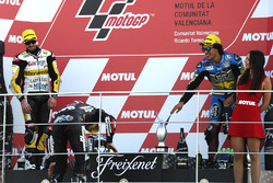 Podium: race winner Johann Zarco, Ajo Motorsport, second place Thomas Lüthi, Interwetten, third place Franco Morbidelli, Marc VDS