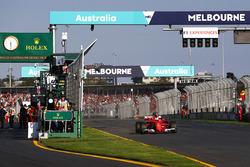 Sebastian Vettel, Ferrari SF70H, celebrates after winning the race