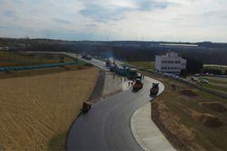 Repaving work on the Hungaroring