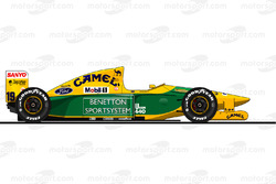 La Benetton B192 pilotée par Michael Schumacher en 1992<br/> Reproduction interdite, exclusivité Mot