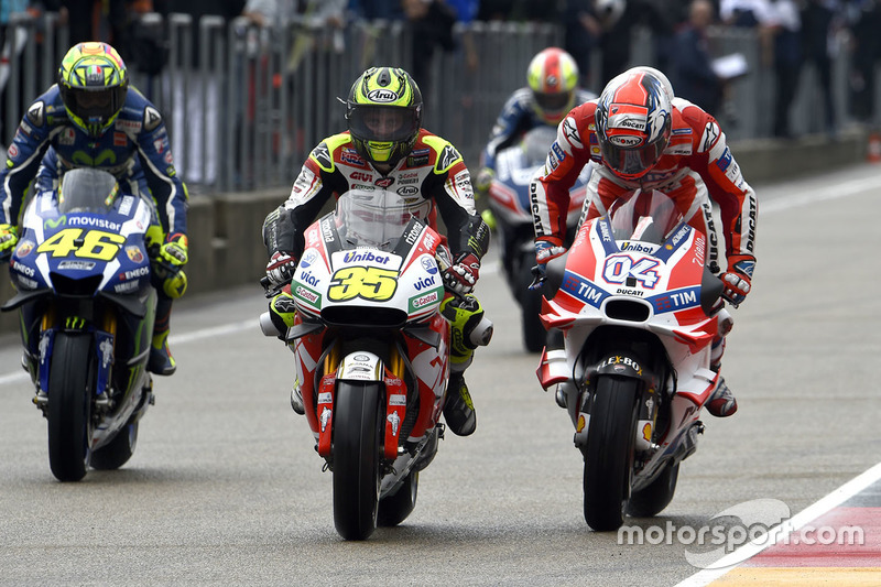 Cal Crutchlow, Team LCR Honda, Andrea Dovizioso, Ducati Team and Valentino Rossi, Yamaha Factory Rac