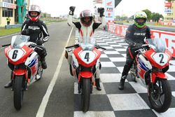 Honda Ladies Race: winner Soundari A, second place Pooja Dabhi and third place Aishwarya Pissay
