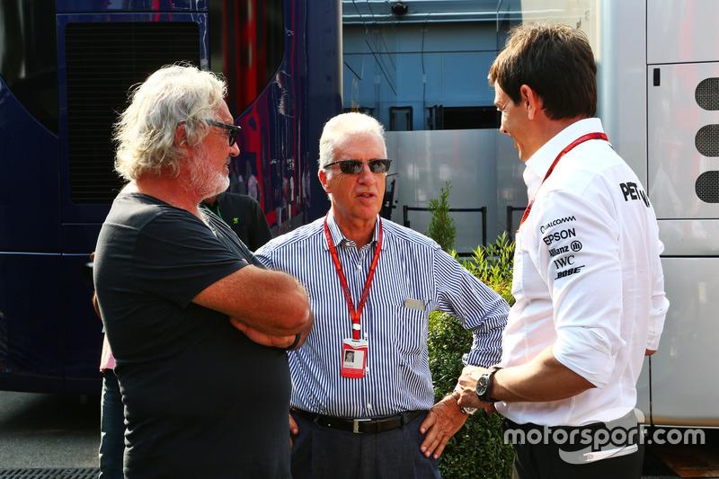 (L to R): Flavio Briatore, with Piero Ferrari, Ferrari Vice-President and Toto Wolff, Mercedes AMG F1 Shareholder and Executive Director