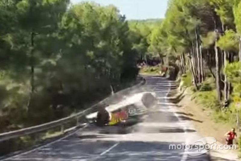Crash: Andreas MIkkelsen, Andreas Jäger, Volkswagen Motorsport, Volkswagen Polo R WRC (Screenshot)