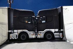 Trucks in the paddock at night