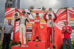 Trofeo Pirelli podium: winner Daniel Mancinelli, second place Cooper MacNeil, third place Martin Fuentes