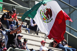 Fans in the grandstand and a masked fan with the Mexican flag