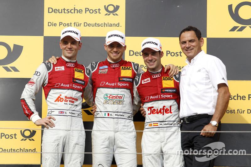 Podium: Race winner Edoardo Mortara Audi Sport Team Abt Sportsline, Audi RS 5 DTM; second place Jami