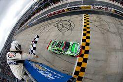 Daniel Suarez, Joe Gibbs Racing Toyota takes the checkered flag