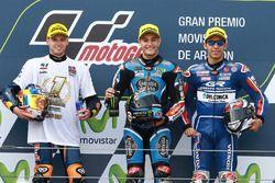 Podium: second place Brad Binder, Red Bull KTM Ajo, race winner Jorge Navarro, Estrella Galicia 0,0,
