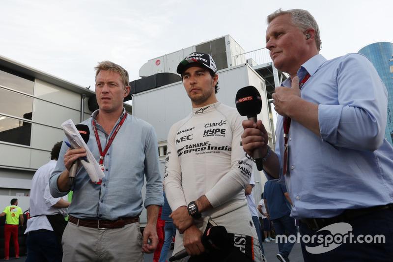 Simon Lazenby, Sky Sports F1 presentador de TV con Sergio Pérez, Sahara Force India F1 y Johnny Herbert, Sky Sports F1 Presentador