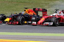 Daniel Ricciardo, Red Bull Racing y Sebastian Vettel, Scuderia Ferrari