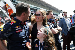 Christian Horner, Red Bull Racing Team Principal with his wife Geri Halliwell, Singer and daughter Bluebell at the podium