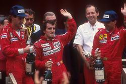 Podio: Alain Prost, McLaren Honda, Gerhard Berger,Ferrari, Michele Alboreto, Ferrari