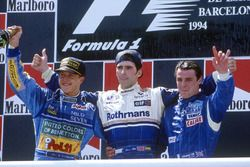 Podium: winner Damon Hill, Williams, second place Michael Schumacher, Benetton, third place Mark Blundell, Tyrrell
