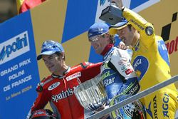Race winner Sete Gibernau, second place Carlos Checa, third place Max Biaggi