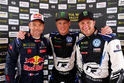 Podium: winnaar Johan Kristoffersson, PSRX Volkswagen Sweden, tweede Sébastien Loeb, Team Peugeot Total,-derde Petter Solberg, PSRX Volkswagen Sweden