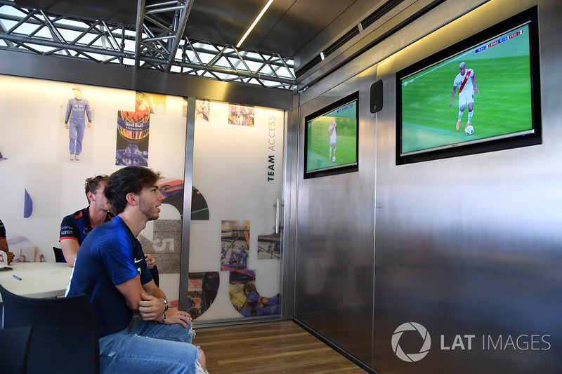 Pierre Gasly, Scuderia Toro Rosso watches the World Cup