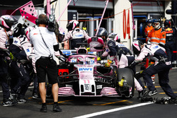 Sergio Perez, Force India VJM11, is returned to the garage and retired from the race