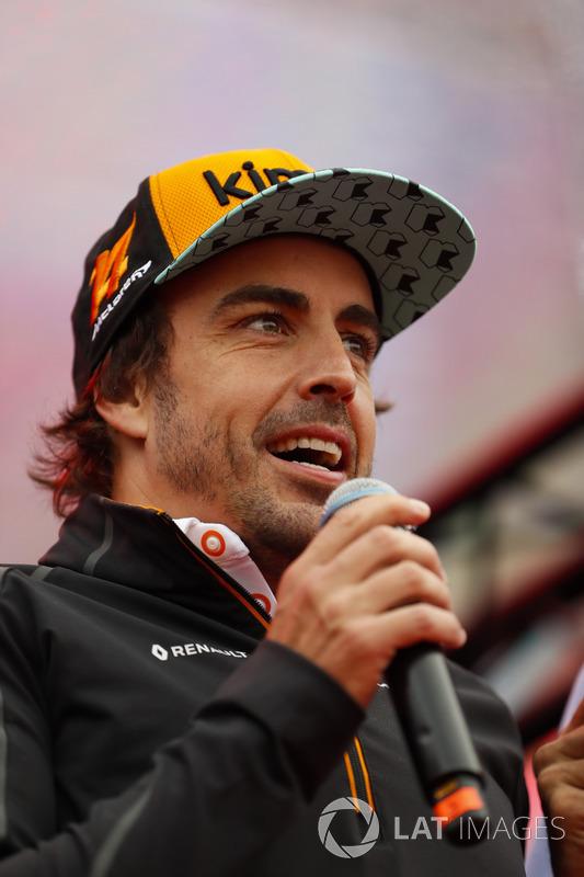 Fernando Alonso, McLaren, is interviewed on stage
