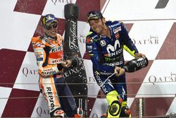 Segundo, Marc Márquez, Repsol Honda Team, tercero, Valentino Rossi, Yamaha Factory Racing
