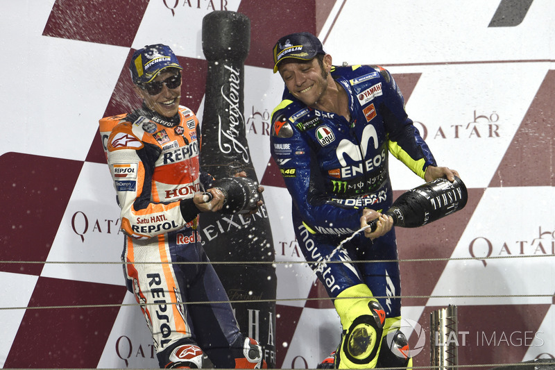 Second place Marc Marquez, Repsol Honda Team, third place Valentino Rossi, Yamaha Factory Racing