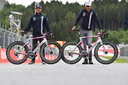 Sergio Perez, Force India et Esteban Ocon, Force India F1 avec des vélos Wyndy Milla