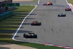 Kimi Raikkonen, Ferrari SF71H, Lewis Hamilton, Mercedes AMG F1 W09, Daniel Ricciardo, Red Bull Racing RB14 Tag Heuer, and Nico Hulkenberg, Renault Sport F1 Team R.S. 18