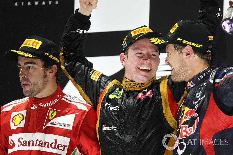 2012: 1. Kimi Räikkönen, 2. Fernando Alonso, 3. Sebastian Vettel