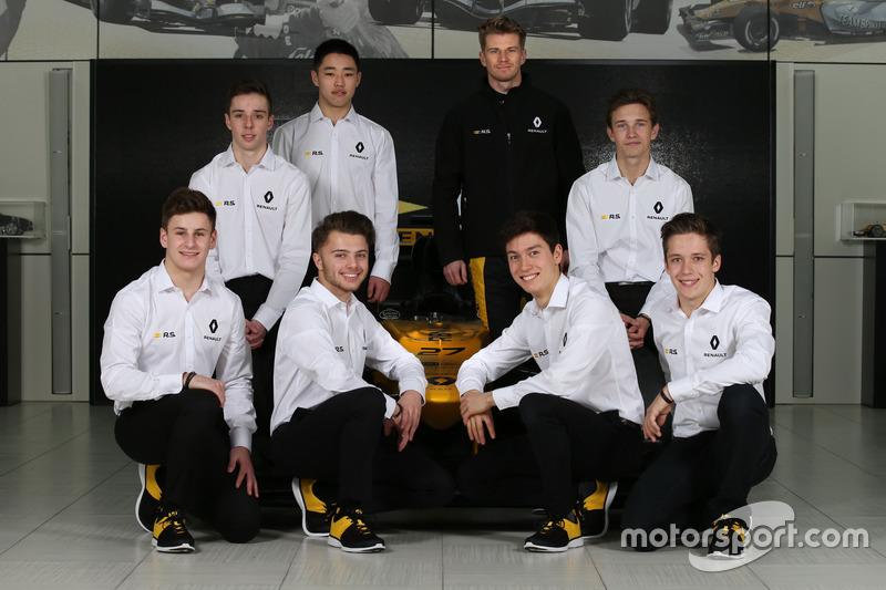 Arthur Rougier, Sun Yue Yang, Christian Lundgaard, Max Fewtrell, Jack Aitken, Victor Martins, Sacha Fenestraz with Nico Hülkenberg, Renault Sport F1 Team