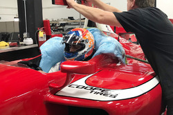 Rinus van Kalmthout seat fitting at Belardi Auto Racing