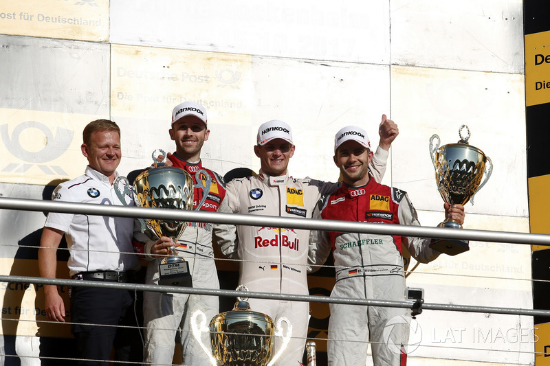 Podio: ganador Marco Wittmann, BMW Team RMG, BMW M4 DTM, René Rast, Audi Sport Team Rosberg, Audi RS 5 DTM, Mike Rockenfeller, Audi Sport Team Phoenix, Audi RS 5 DTM, Stefan Reinhold, jefe de BMW Team RMG