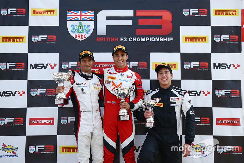 Podium: race winner Manuel Maldonado, Fortec Motorsport, second place Krishnaraaj Mahadik, Double R Racing, third place Sasakorn Chaimongkol, Hillspeed