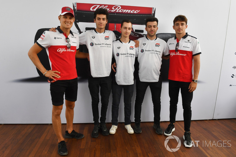 Marcus Ericsson, Sauber and Charles Leclerc, Sauber with Sauber eSports drivers
