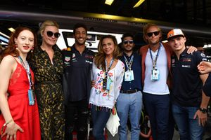 Riviera cast members Julia Stiles, Rixanne Duran and Lena Olin with Daniel Ricciardo, Red Bull Racing and Max Verstappen, Red Bull Racing