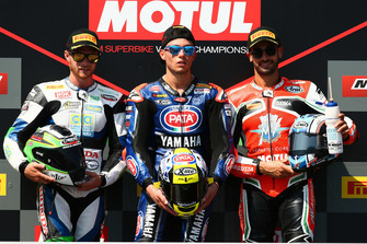 Podium: race winner Federico Caricasulo, GRT Yamaha Official WorldSSP Team, second place Kyle Smith, GEMAR Team Lorini, third place Raffaele De Rosa, MV Agusta Reparto Corse by Vamag