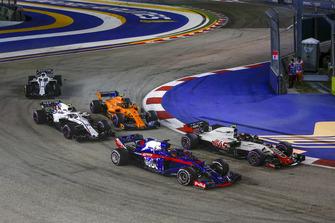 Brendon Hartley, Scuderia Toro Rosso STR13, Kevin Magnussen, Haas F1 Team VF-18, Sergey Sirotkin, Williams FW41 et Stoffel Vandoorne, McLaren MCL33