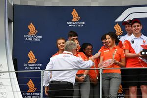 Ross Brawn, Formula One Managing Director of Motorsports with F1 in Schools on the podium
