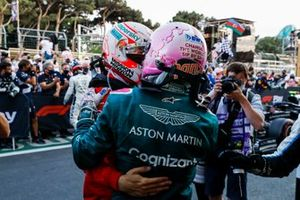 Charles Leclerc, Ferrari, congratulates Sebastian Vettel, Aston Martin, 2nd position, in Parc Ferme