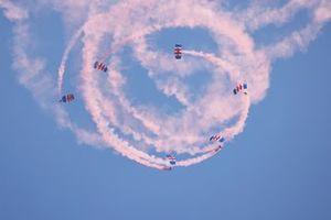 The RAF Falcons Parachute display team drop in
