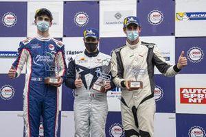 Il podio di Gara 1: Secondo posto Eric Brigliadori, BF Motorsport, Audi RS 3 LMS TCR, primo posto Salvatore Tavano, Scuderia del Girasole by Cupra Racing, Cupra Leon Competición TCR, terzo posto Kevin Ceccon, Aggressive Team Italia, Hyundai i30 N TCR