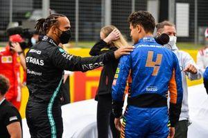 Lewis Hamilton, Mercedes, en Lando Norris, McLaren