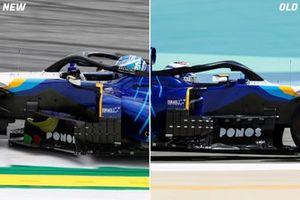 Comparación de los bargeboard del Williams FW43B