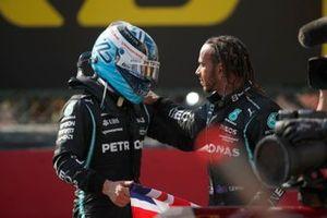 Valtteri Bottas, Mercedes, 3rd position, and Lewis Hamilton, Mercedes, 1st position, congratulate each other in Parc Ferme