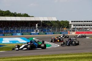 George Russell, Williams FW43B, Yuki Tsunoda, AlphaTauri AT02, and Sergio Perez, Red Bull Racing RB16B