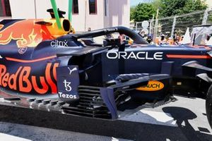 The damaged car of Max Verstappen, Red Bull Racing RB16B