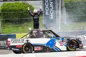 John Hunter Nemechek, Kyle Busch Motorsports, Toyota Tundra Power Up Premium Trail Mix celebrates his victory