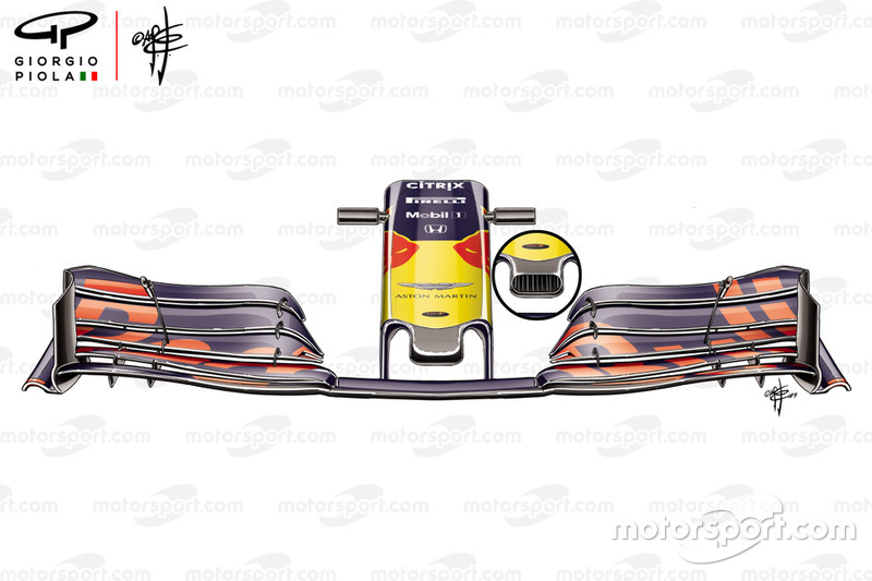 Detalle del morro del Red Bull Racing RB15