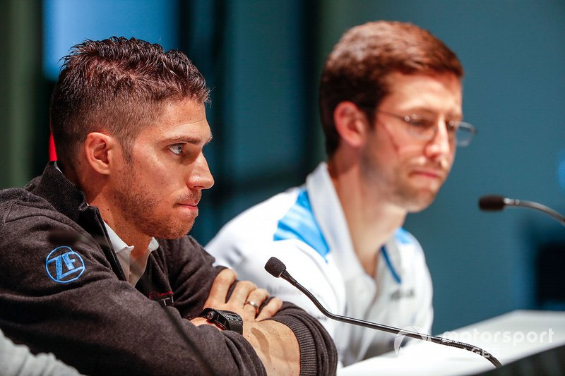 Edoardo Mortara, Venturi Formula E, lors de la conférence de presse avec Alexander Sims, BMW I Andretti Motorsports